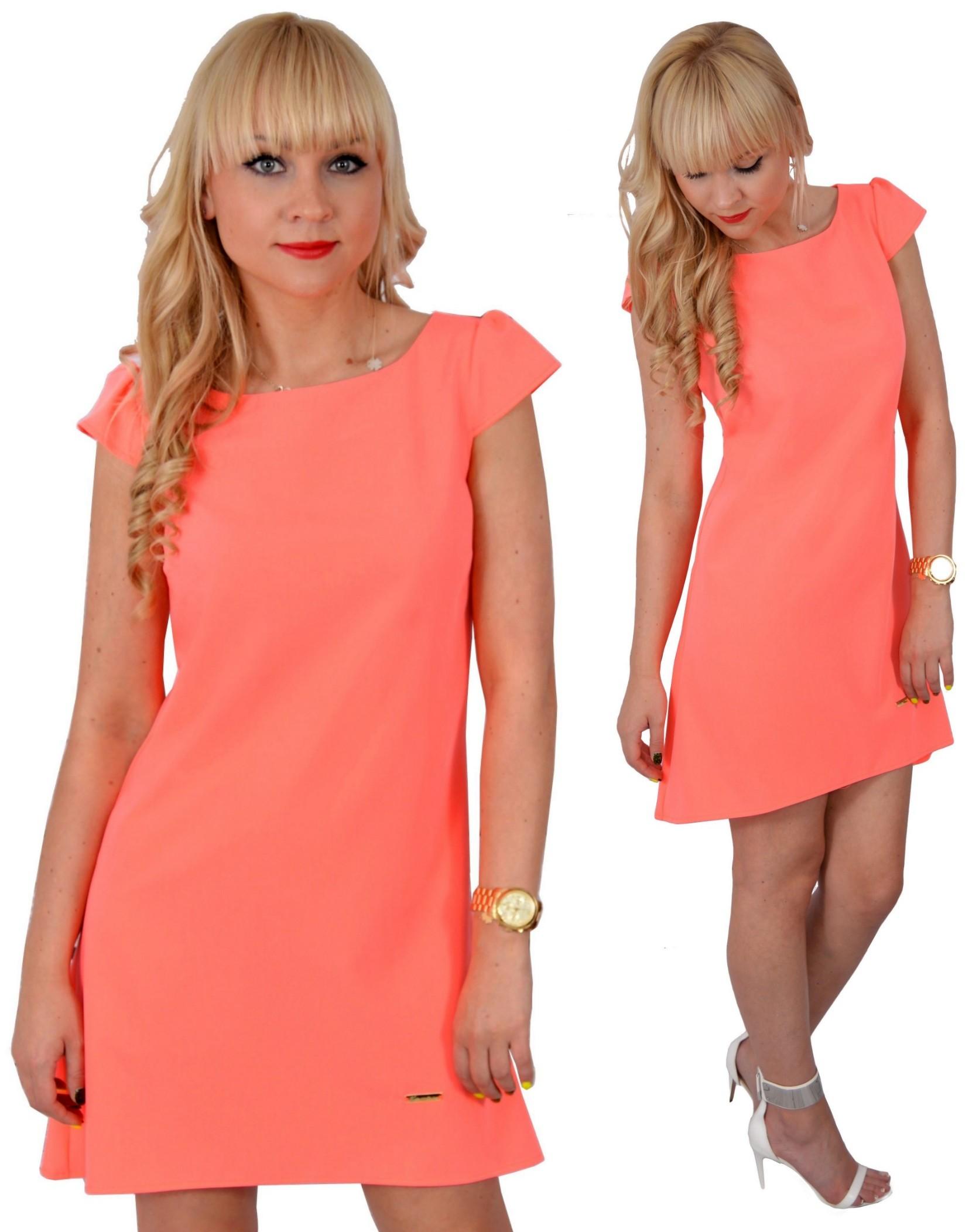 d6c160377b Sukienka Trapezowa  Asymetryczna  Pomarańcz 44 XXL - 7226242753 - oficjalne  archiwum allegro