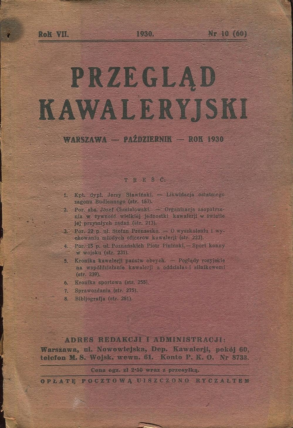 PRZEGLĄD KAWALERYJSKI 1930 kawaleria Budionny