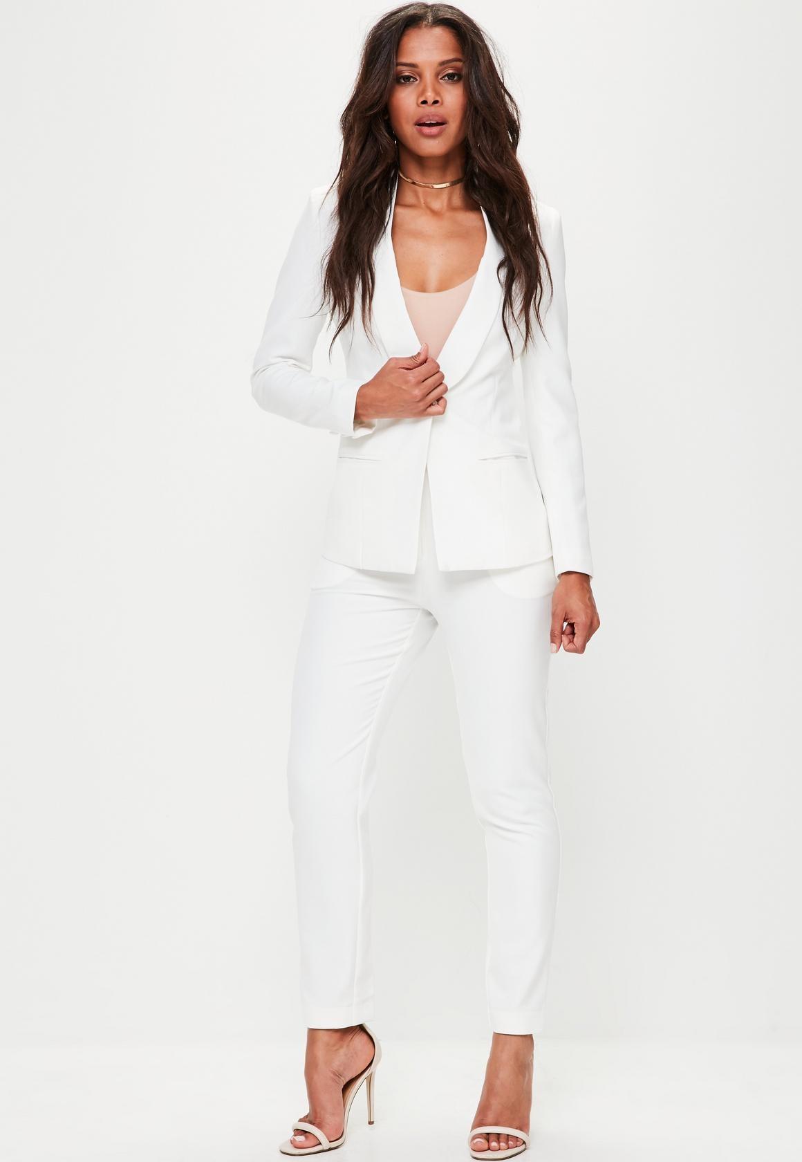 8e778c773647e3 Missguided Zara 7555907598 Garnitur Xs Biały Żakiet Spodnie I gPdwaxqCP