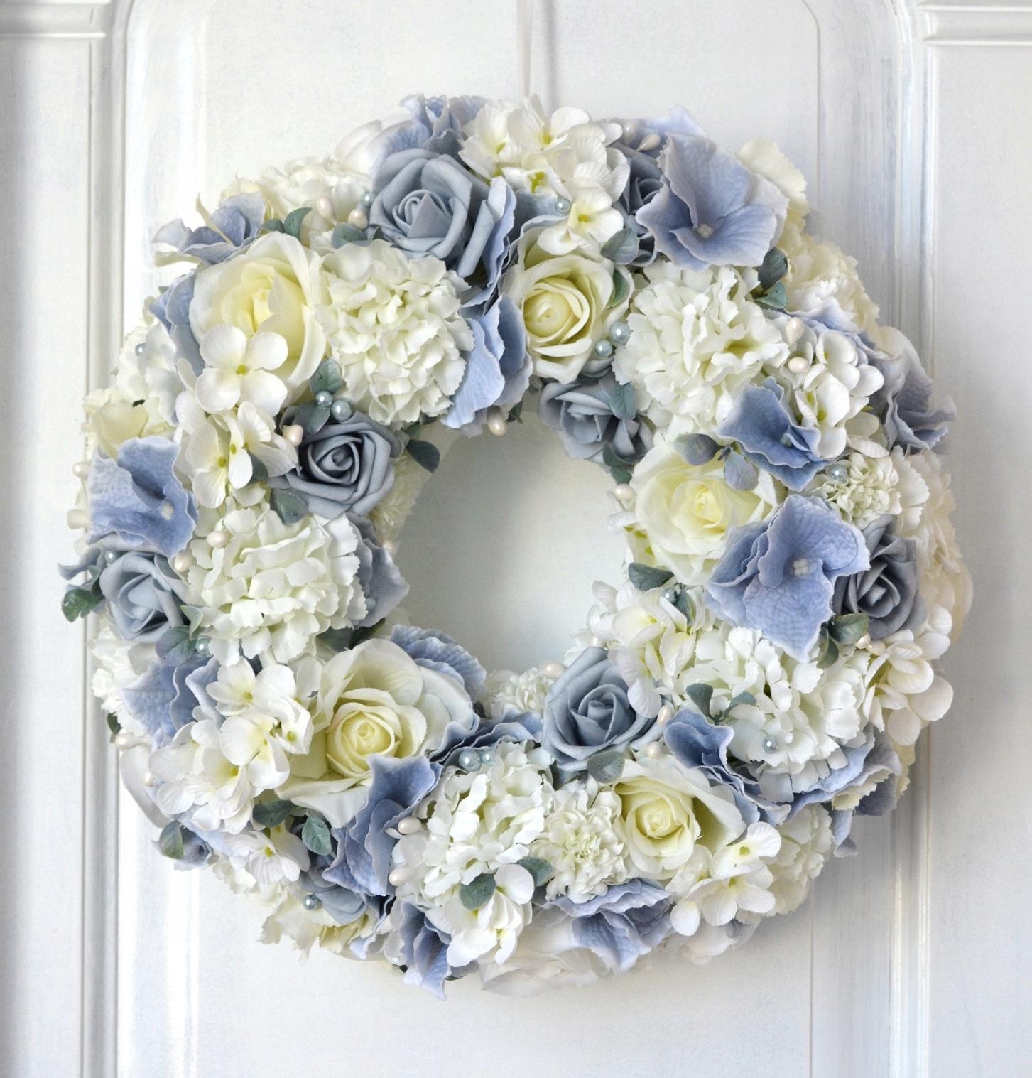 Wianek Na Drzwi Dekoracja Hortensja Róże Niebiesk