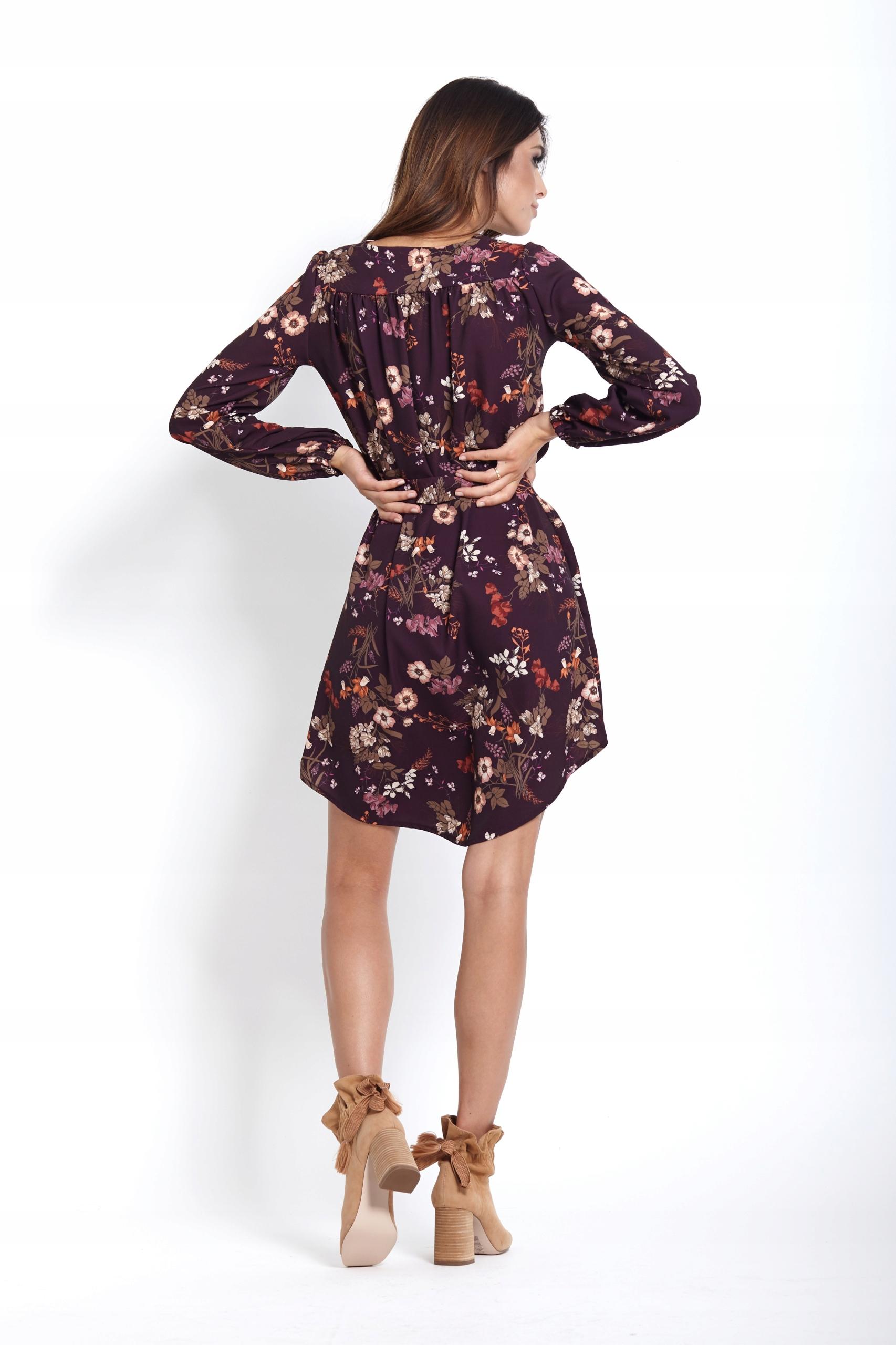 7d71d749b2 Sukienka o prostym kroju - Karina - kwiaty S - 7674259452 ...