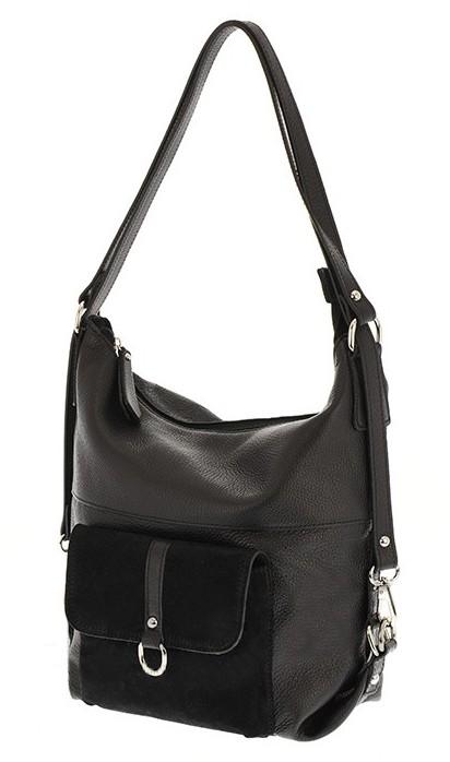 cc258303f35b8 Skórzana torba plecak 2 w 1 czarna torebka włoska - 7119904262 ...
