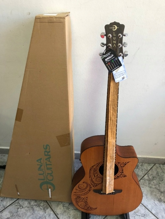 Luna Oracle Tattoo Grand Concert Electric Acoustic