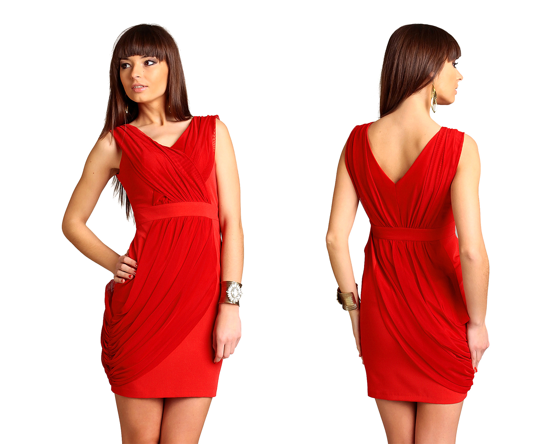 ef3ef511ec Zmysłowa sukienka na podszewce czerwona 42 XL - 7172753172 ...