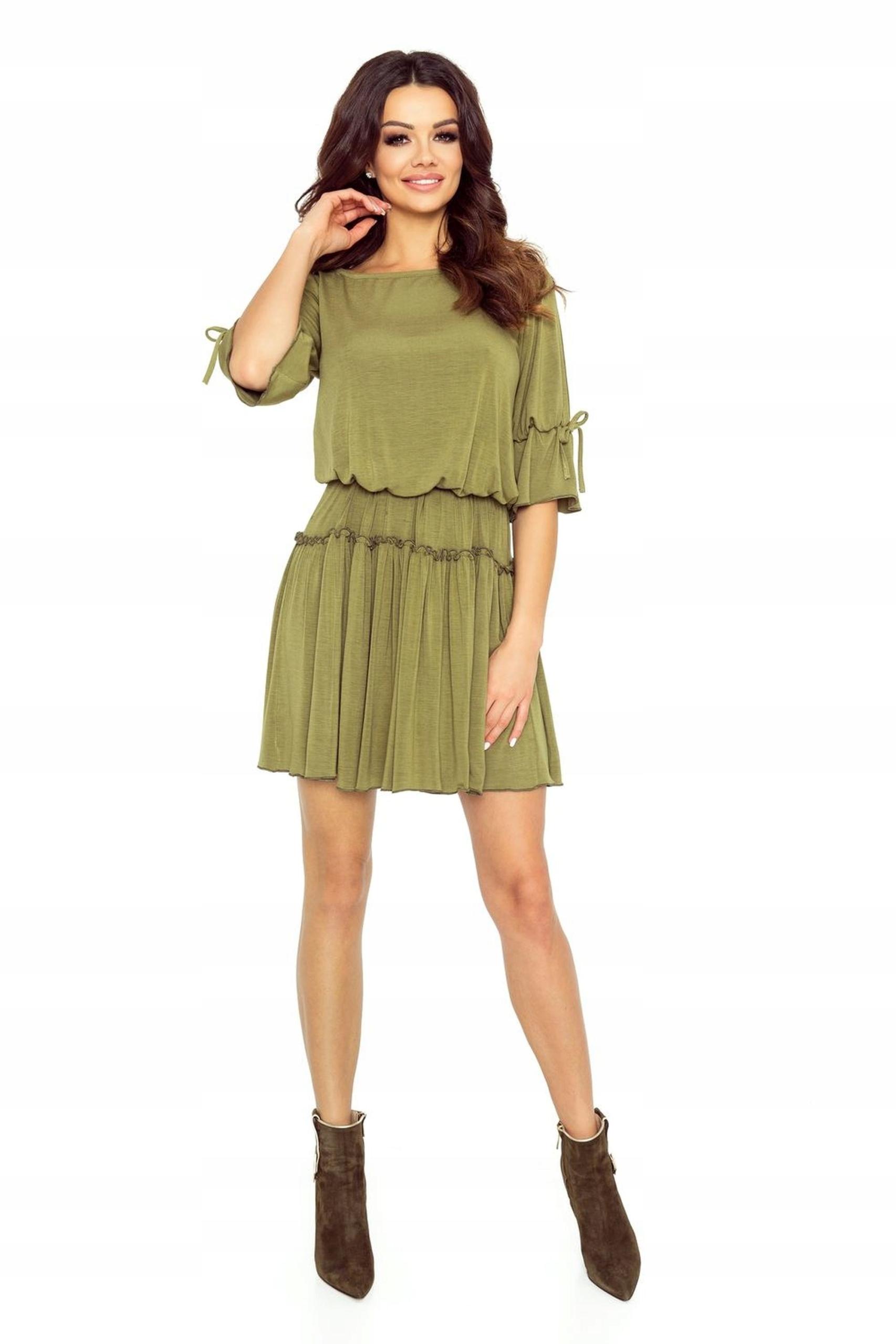 65226e80e7 Sukienka ze ściągaczem w pasie Zielony XL - 7446949826 - oficjalne ...
