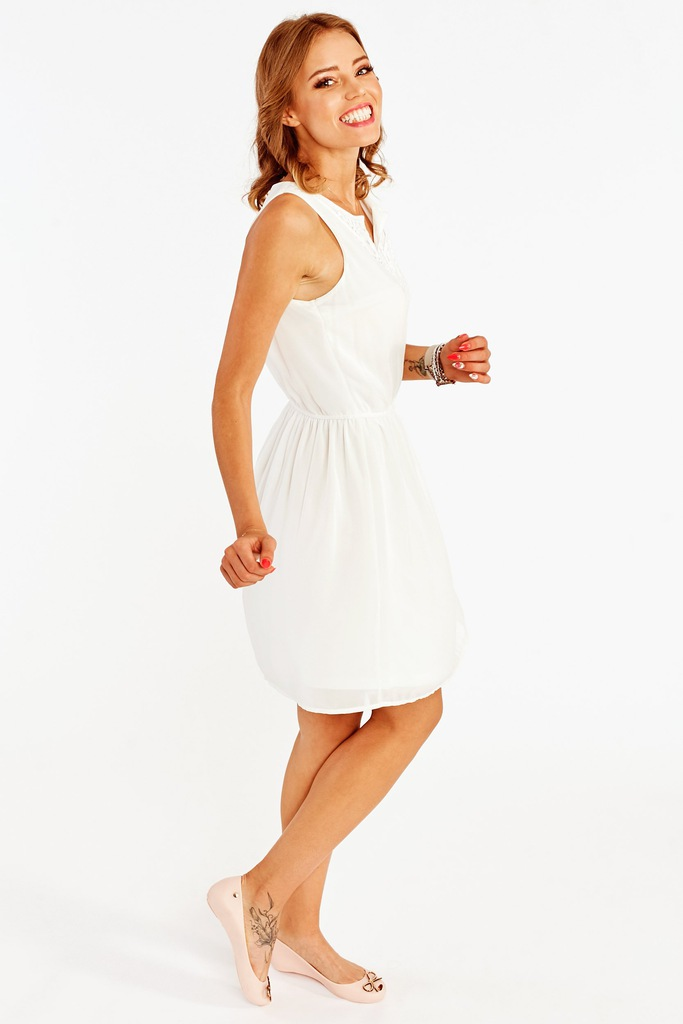 Sukienka ONLY onlCAROL S/L SHORT DRESS 15118404 ecru 36