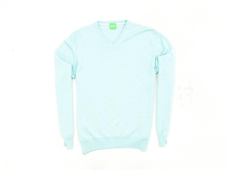 *M Hugo Boss Green Sweter Męski V-Neck Wełna roz M