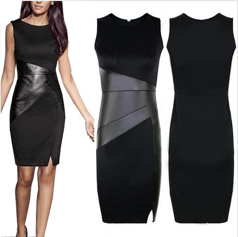 Sukienka mała czarna Elegancka Skórka XXL 44