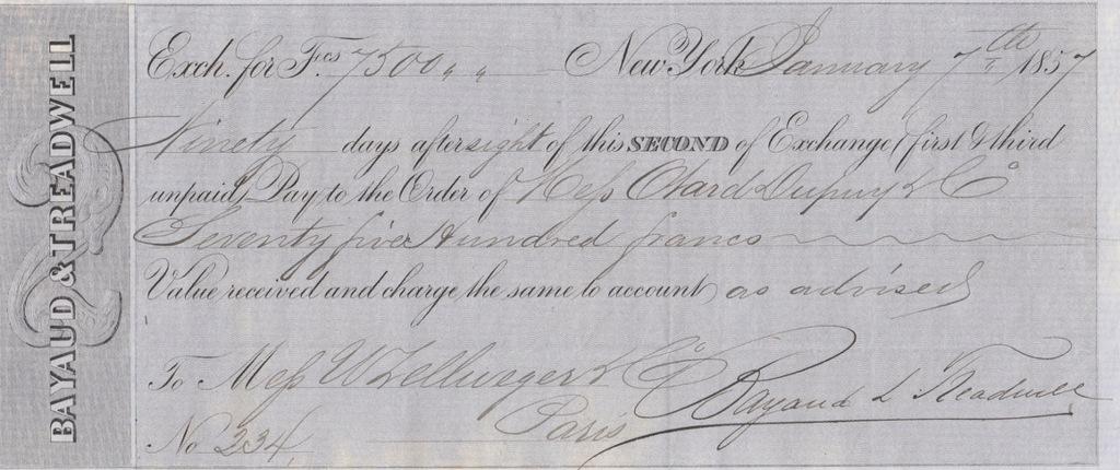 Weksel USA > Francja 1857
