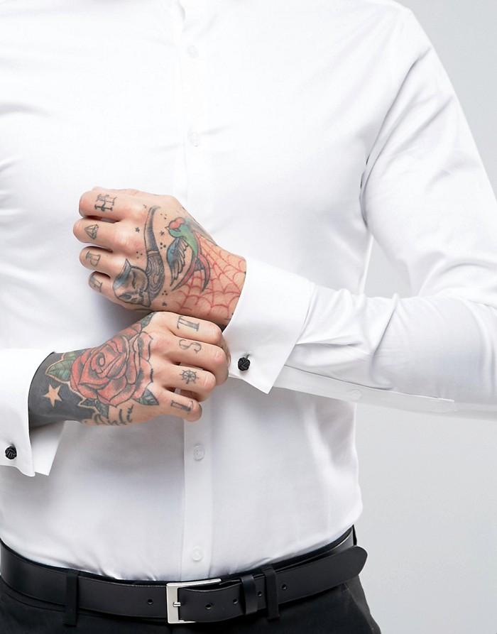 ASO Biała elegancka koszula mankiety (M) 7361220974  id49u