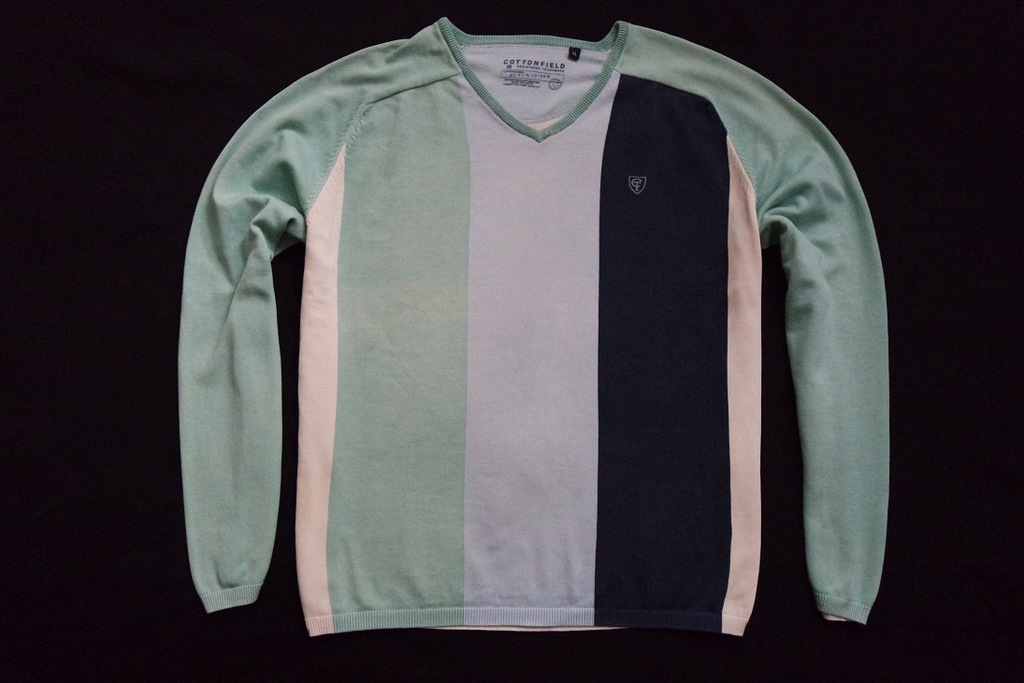COTTONFIELD sweter sweterek paski logowany______XL