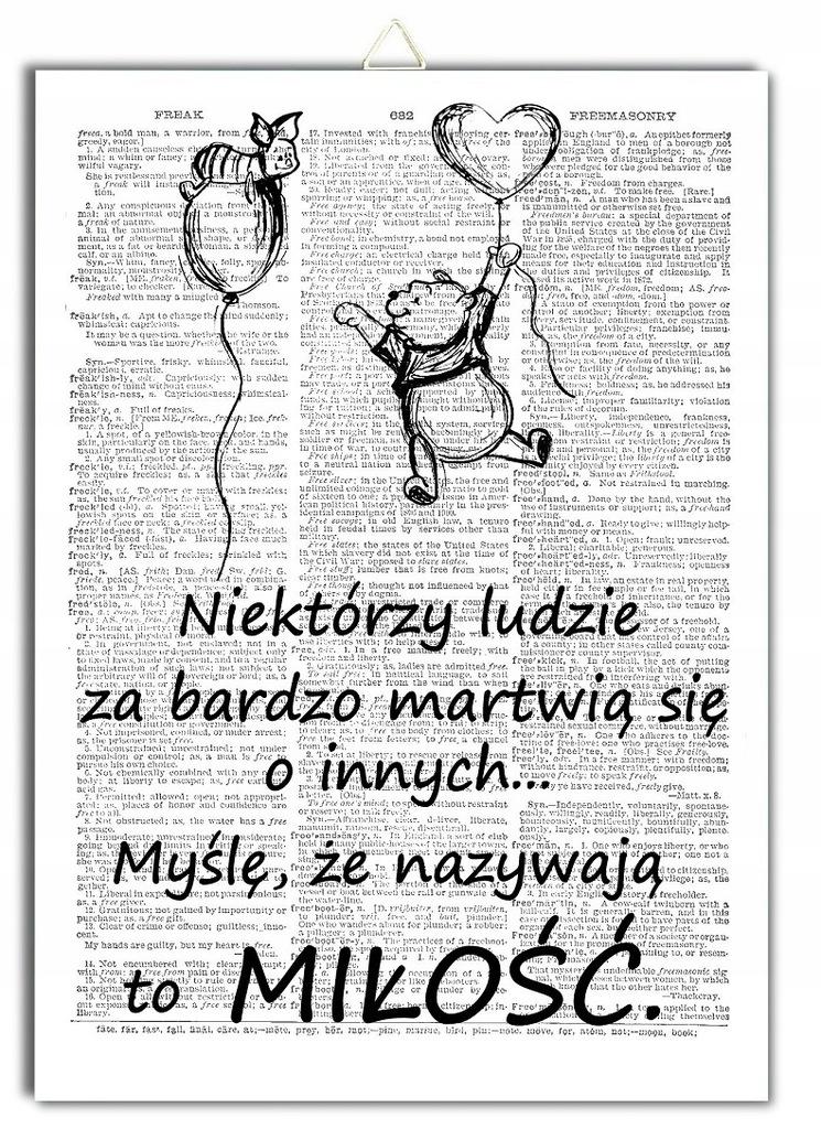 Plakat Kubuś Puchatek Cytat Miłość Prosiaczek 7705877302
