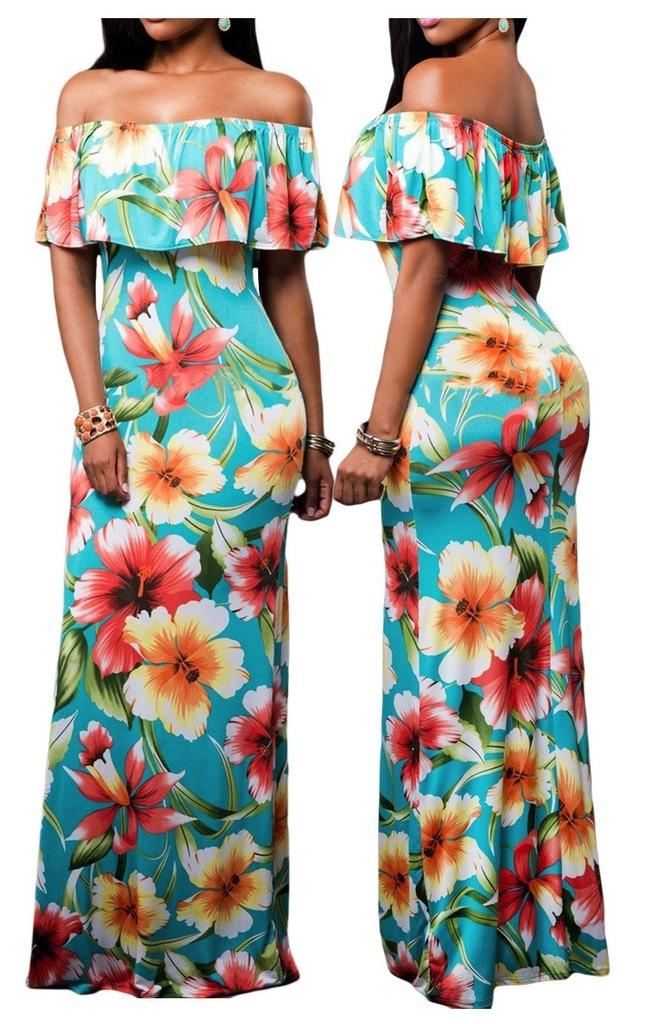 Sukienka W Kwiaty Letnia Dluga Hiszpanska Xl 42 6750748747 Oficjalne Archiwum Allegro