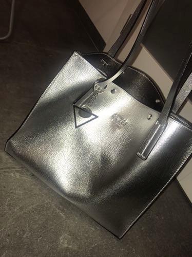 Torebka torba GUESS metaliczna srebrna duża