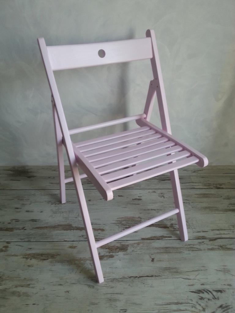 TERJE krzesło składane IKEA różowe pastel balkon