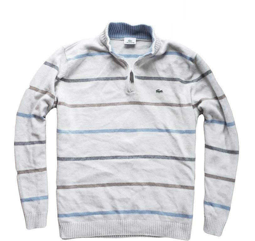Lacoste L/XL wełniany NIEZWYKŁY sweter rozpinany