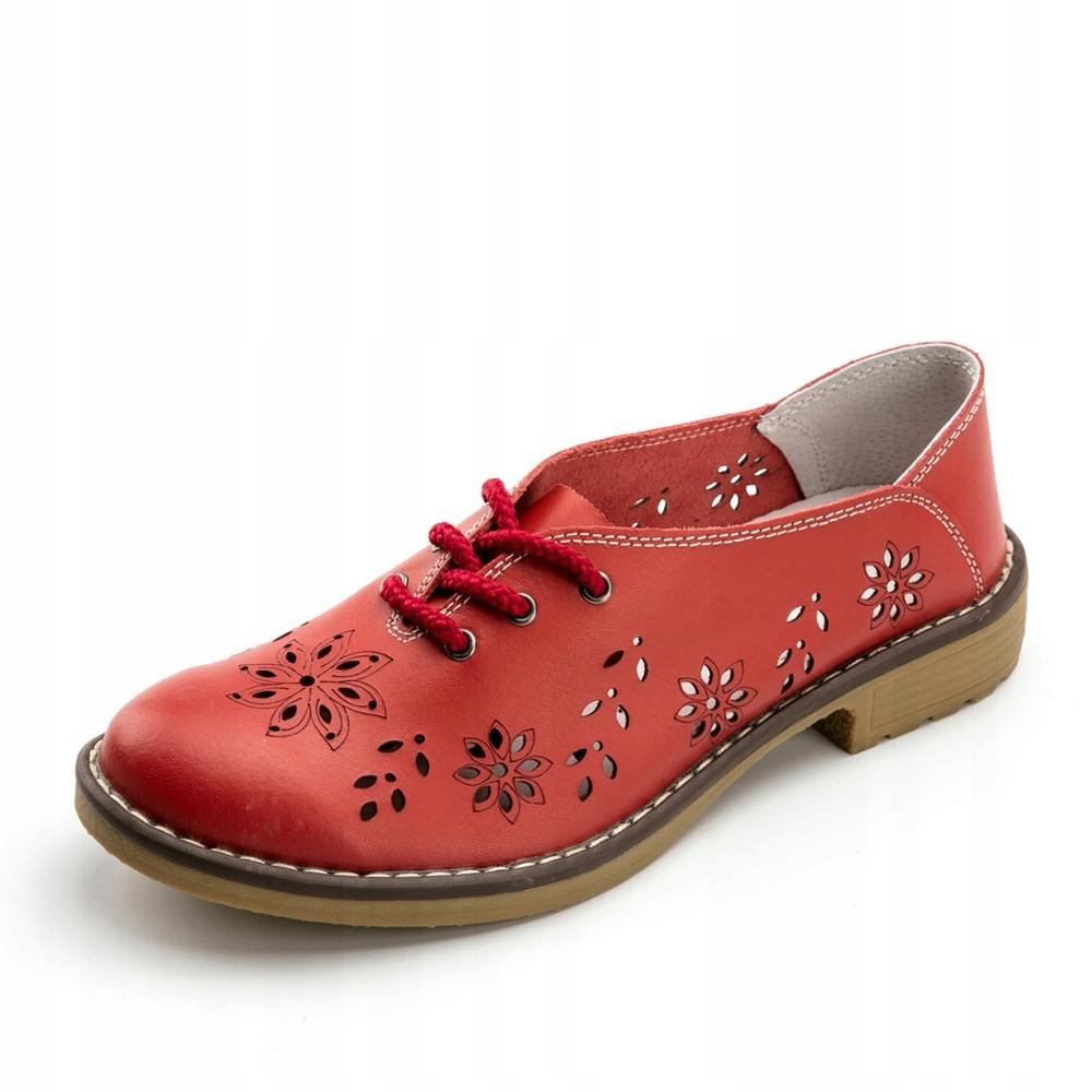 Zjawiskowe ażurowe buty damskie półbuty lordsy 41