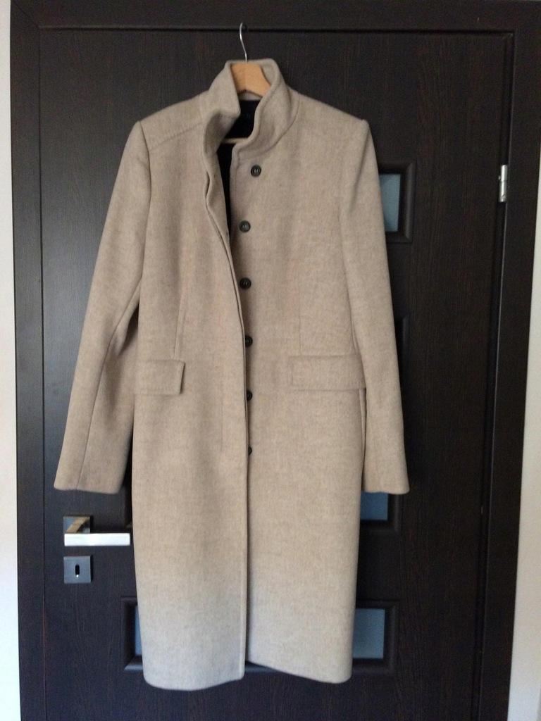 Płaszcz wełniany ZARA roz. 42 XL ze stójką wełna