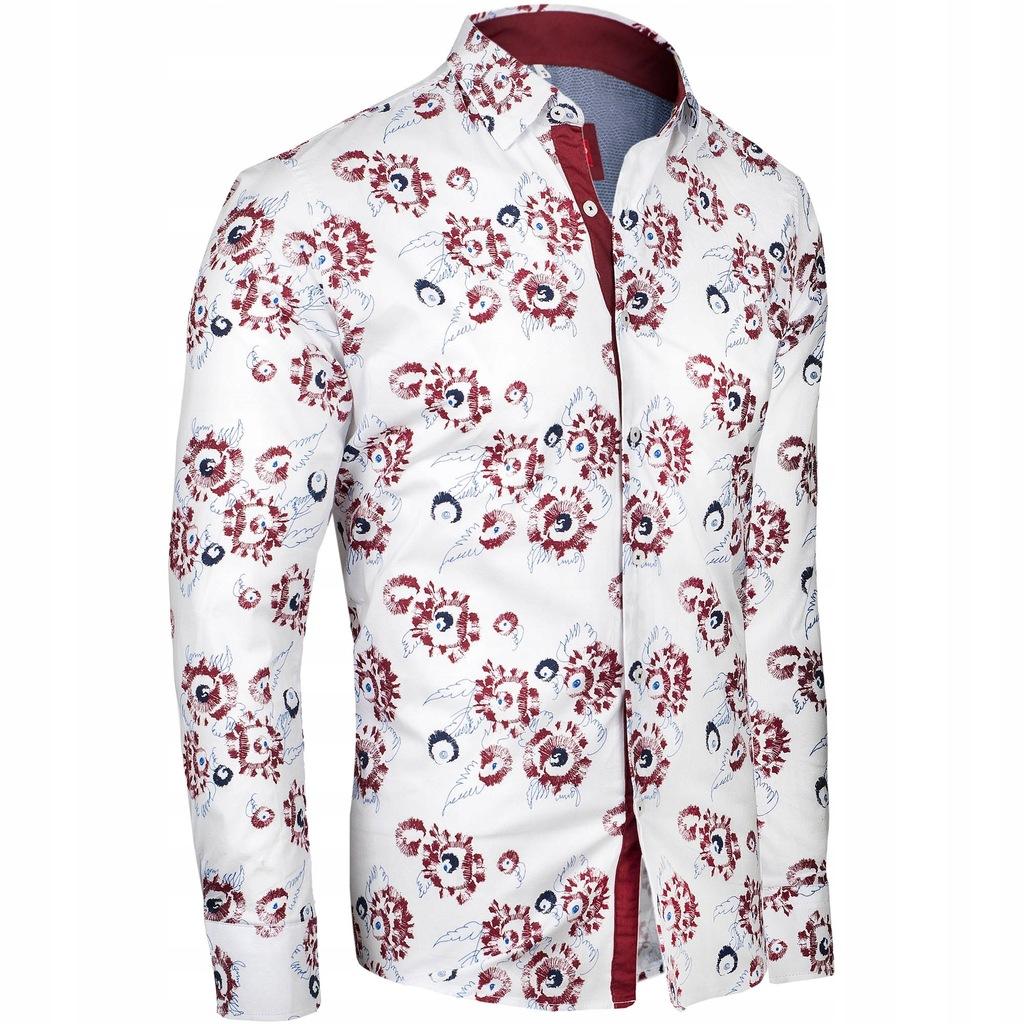 XXL Koszula męska elegancka w wzory SLIM 7617347640  gBbMA