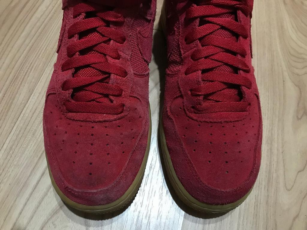 Buty wysokie Nike Air Force czerwone skóra 40.5