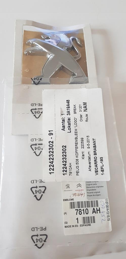 Emblemat peugeot 508 tył kombi 1224232302 nowy ory