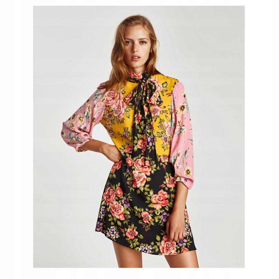 Zara czarna sukienka z kolorowymi kwiatami falbanki wiązana