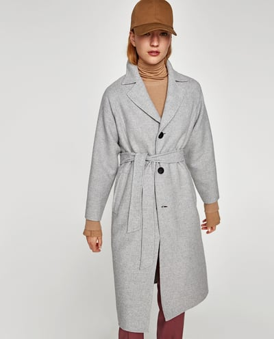 ZARA płaszcz wiązany szary wełna lux M j.mango