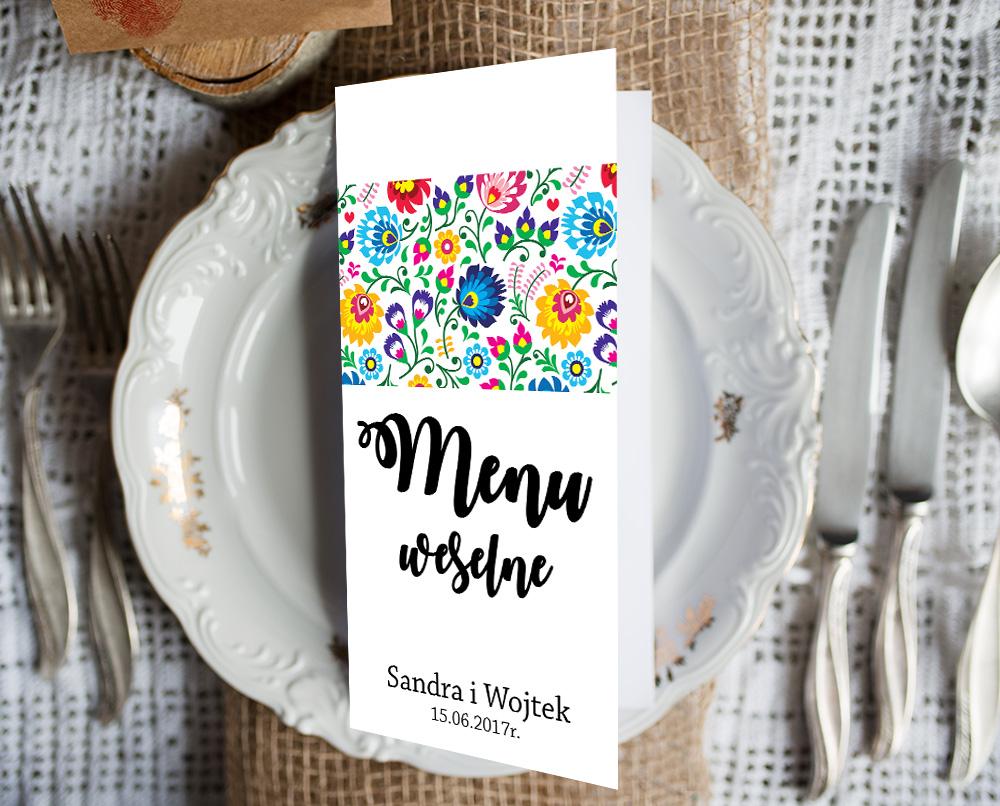 Menu weselne, Karta dań, spis potraw - NOWE WZORY