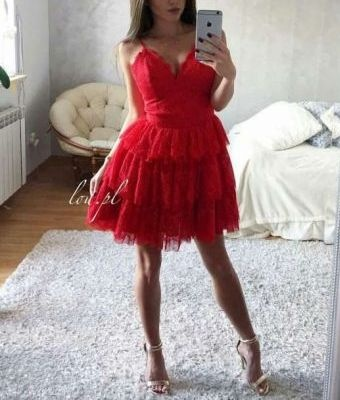 Sukienka LOU MILA czerwona M ideał