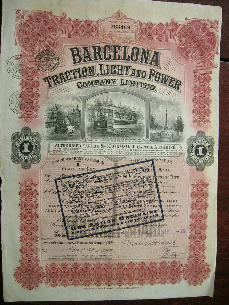 Barcelona Traction, Light and Power, akcja 50 $