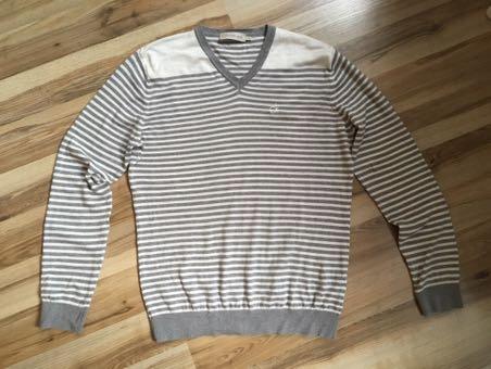Calvin Klein Jeans biało-szary sweter w pasy S/M
