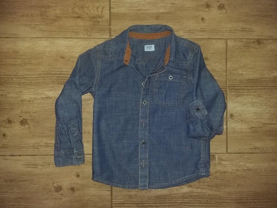 F&F 110 cm Koszula Jeansowa podwijane rękawy