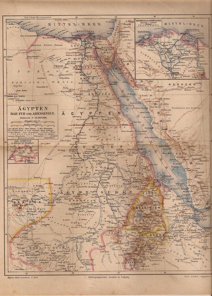 EGIPT SUDAN ABISYNIA SYNAJ 1890 ROK