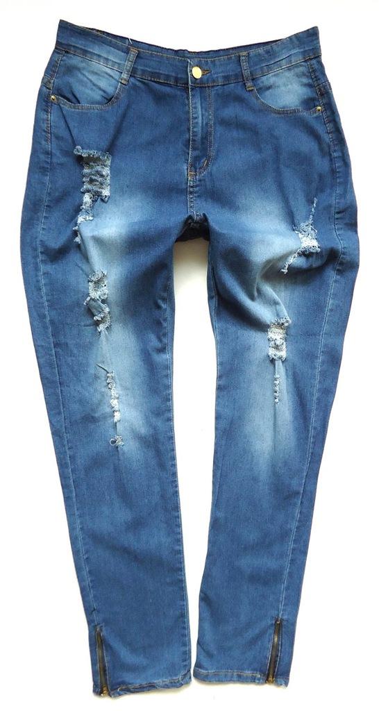 NO NAME jeans rurki SKINNY przetarcia dziury 4244