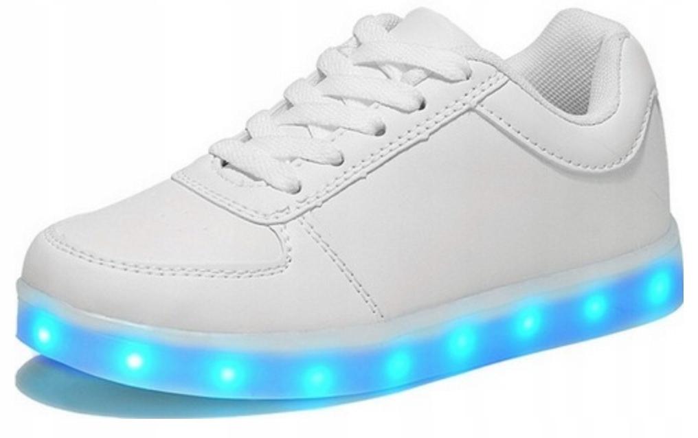 Świecące Buty LED Sportowe Białe Ledowe Smart r.33