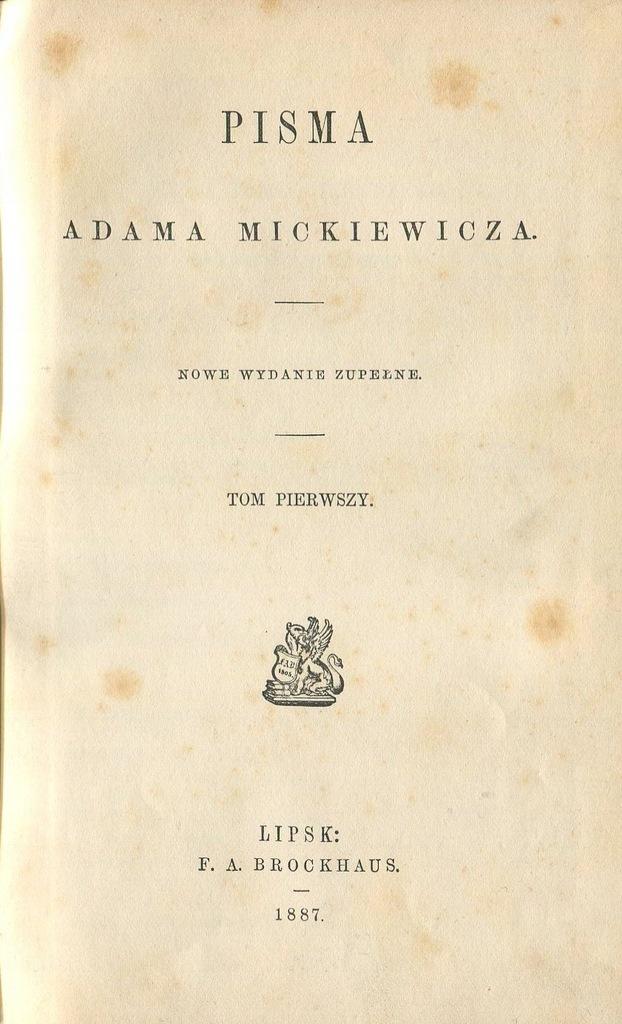 Adam Mickiewicz Sonety Krymskie Ballady 1887