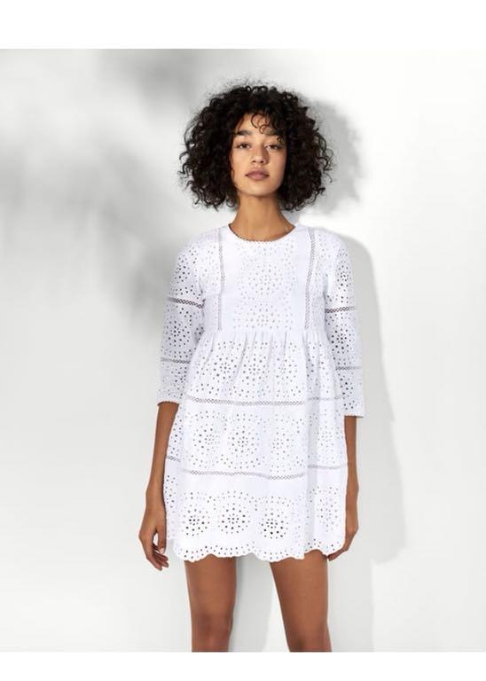 Zara sukienka kombinezon biała haftowana s