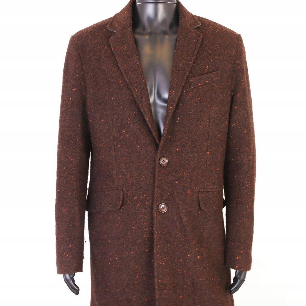 *U Zara Man Płaszcz Męski Wełniany Brąz roz 52