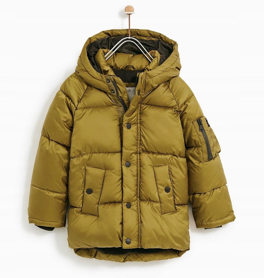 ZARA kurtka zimowa chłopięca w kolorze ochry 140