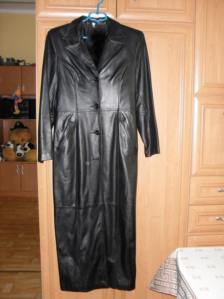 Płaszcz skórzany damski, długi płaszcze ze skóry, skórzane