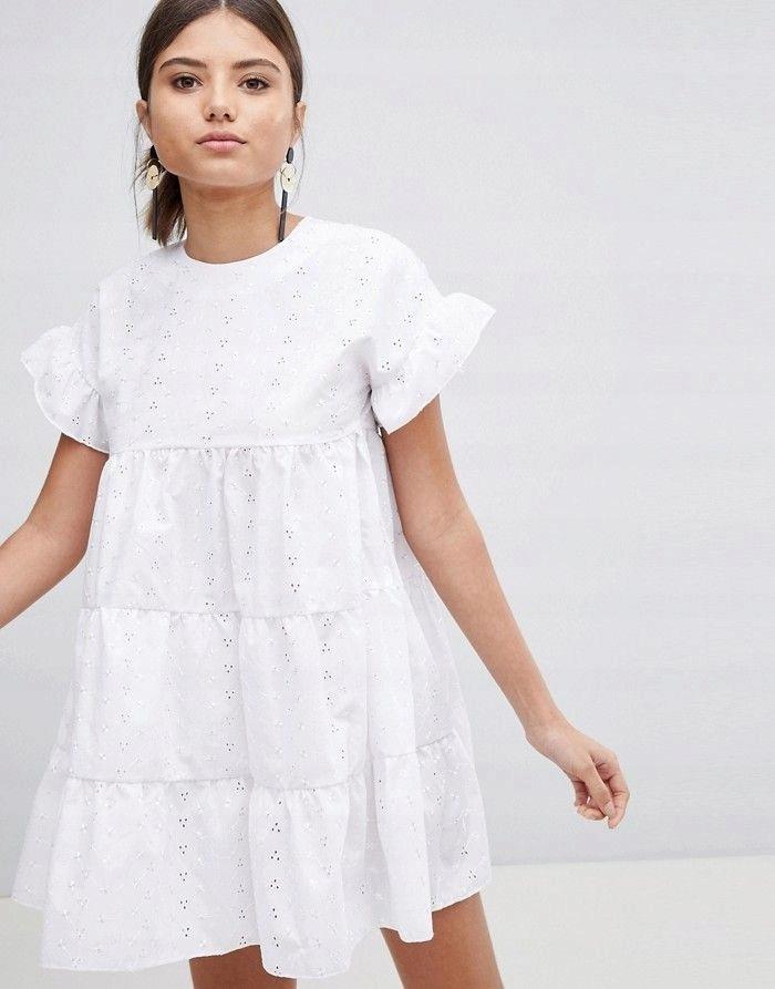 PRETTYLITTLETHING Biała haftowana sukienka (36)