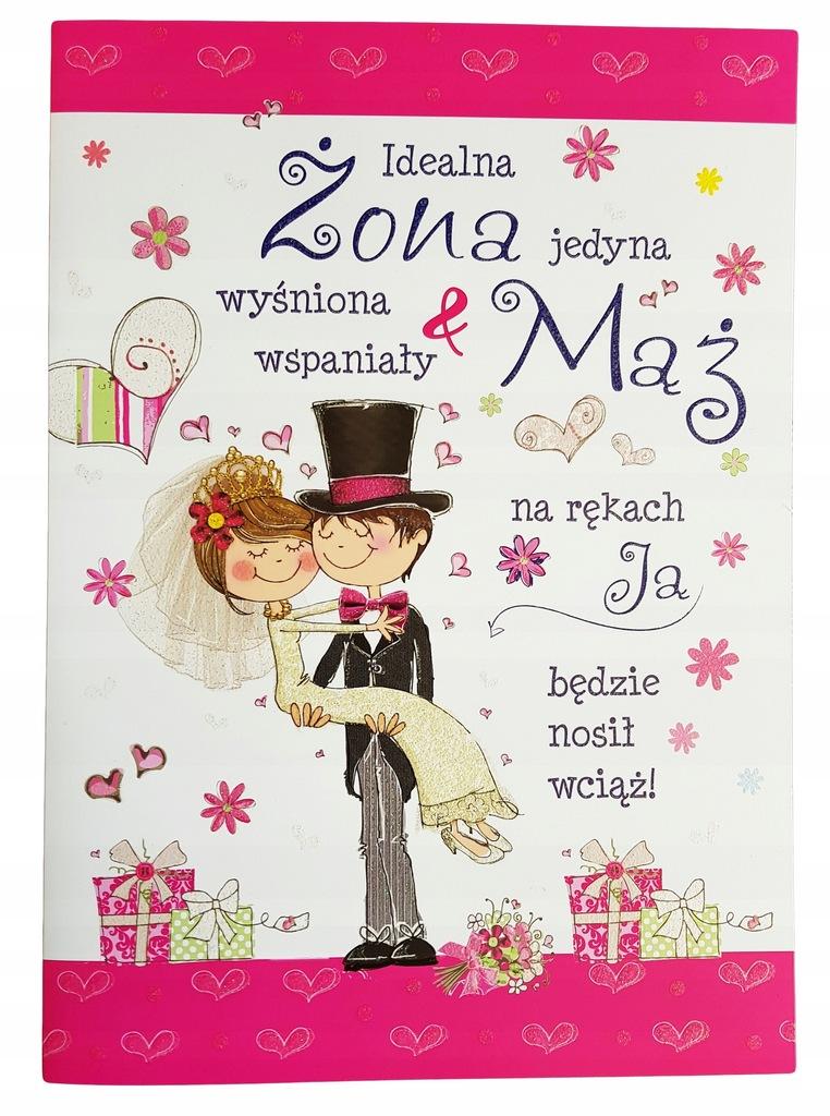 Brokatowa Kartka życzenia Na ślub Dla Nowożeńców