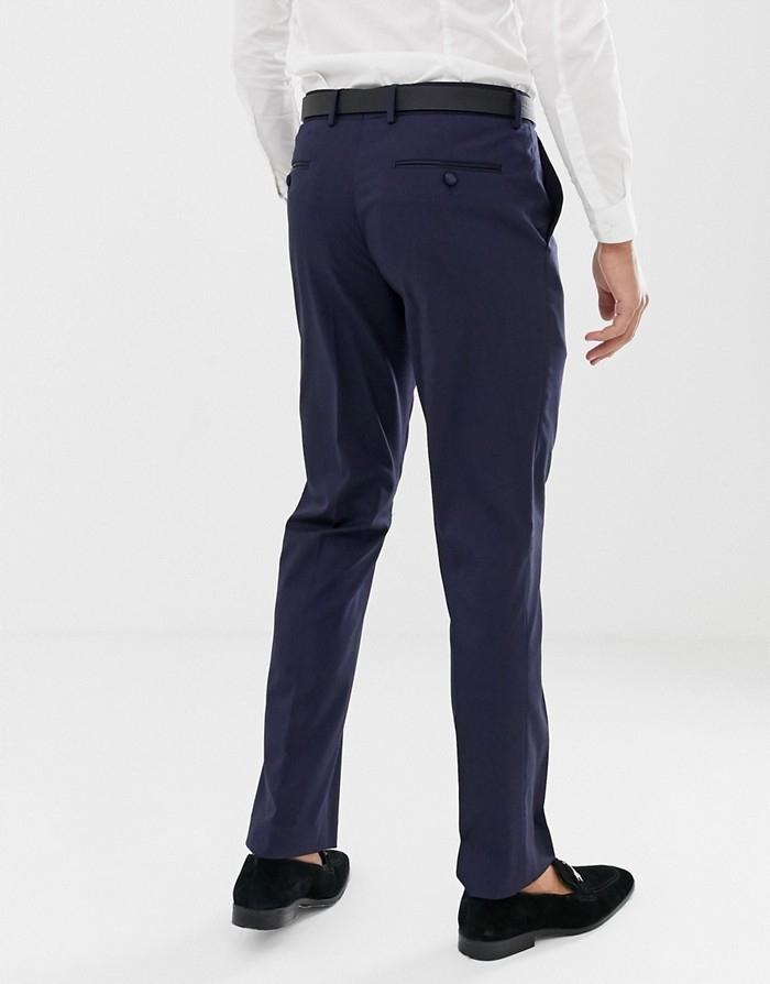ASO Granatowe eleganckie spodnie w kant (W32L32)