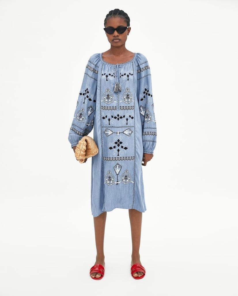 ZARA sukienka tunika jeansowa hafty błękitna M
