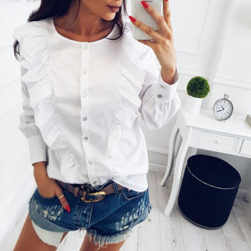 Koszula biała falbanki falbany 38 M 7206645552 oficjalne  1e5Op
