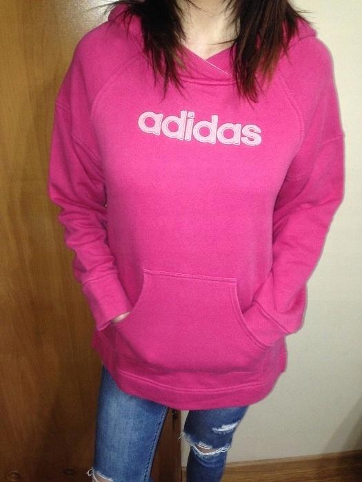 Różowa bluza Adidas z kapturem LXL napis