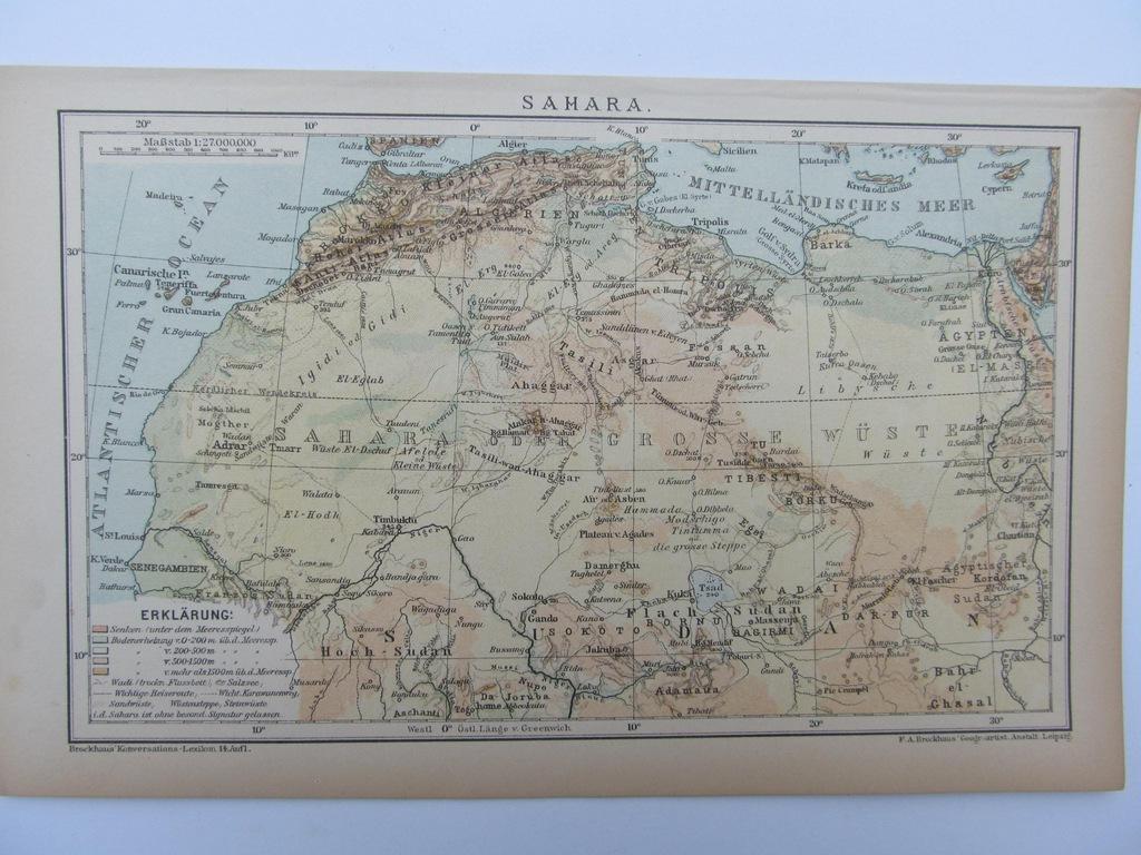 AFRYKA PUSTYNIA SAHARA mapa 1898 r.
