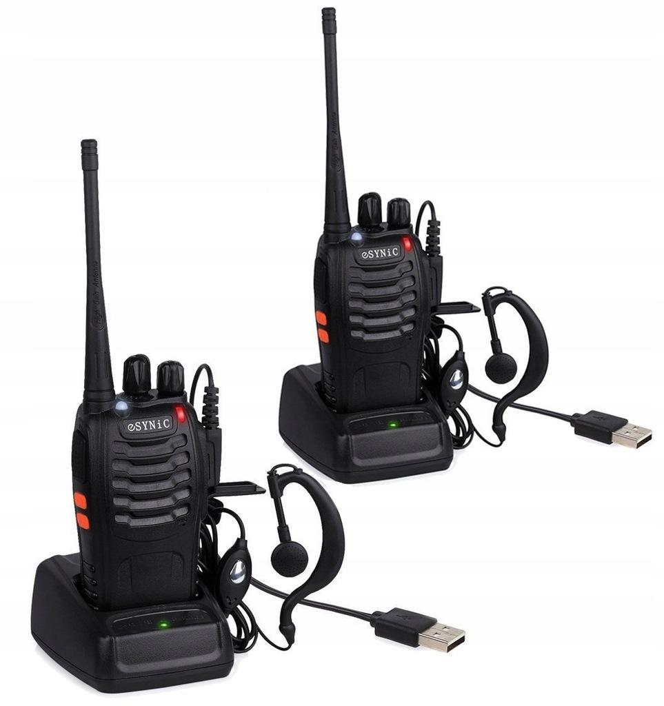 D44X ESYNiC 2szt Walkie Talkie UHF Radio 400-470MH