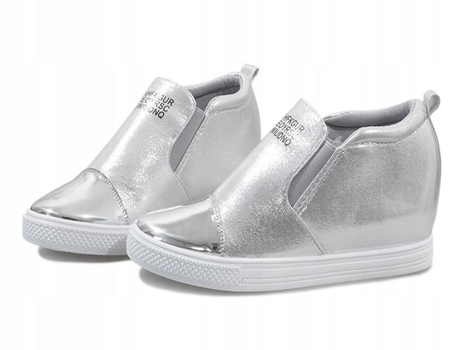 Srebrne ażurowe sneakersy na koturnie DD392 2 szare