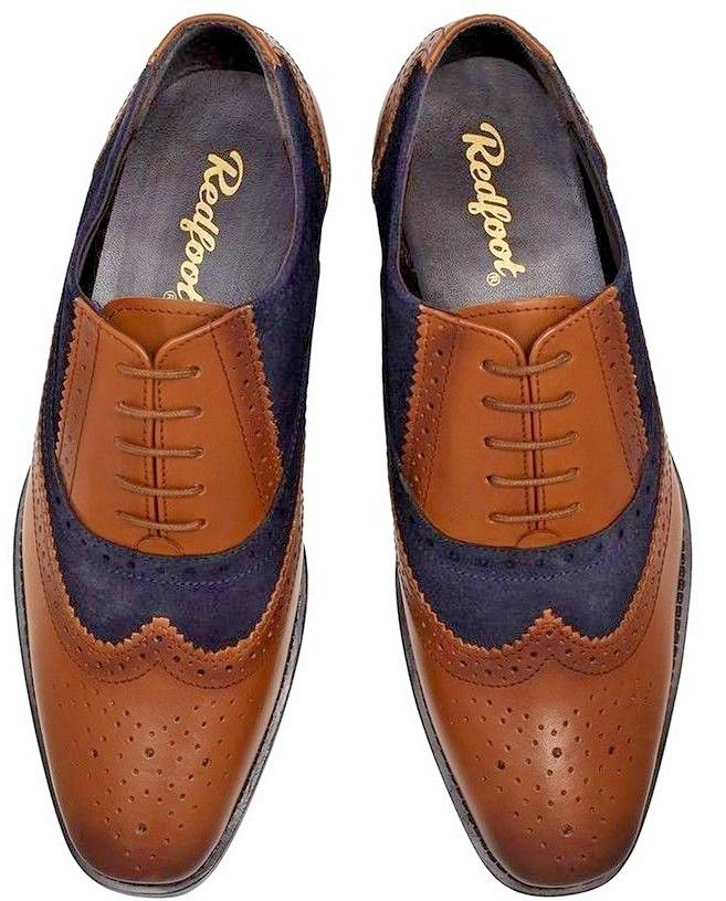 Redfoot Oxford Brogue Buty Męskie Pantofle 45